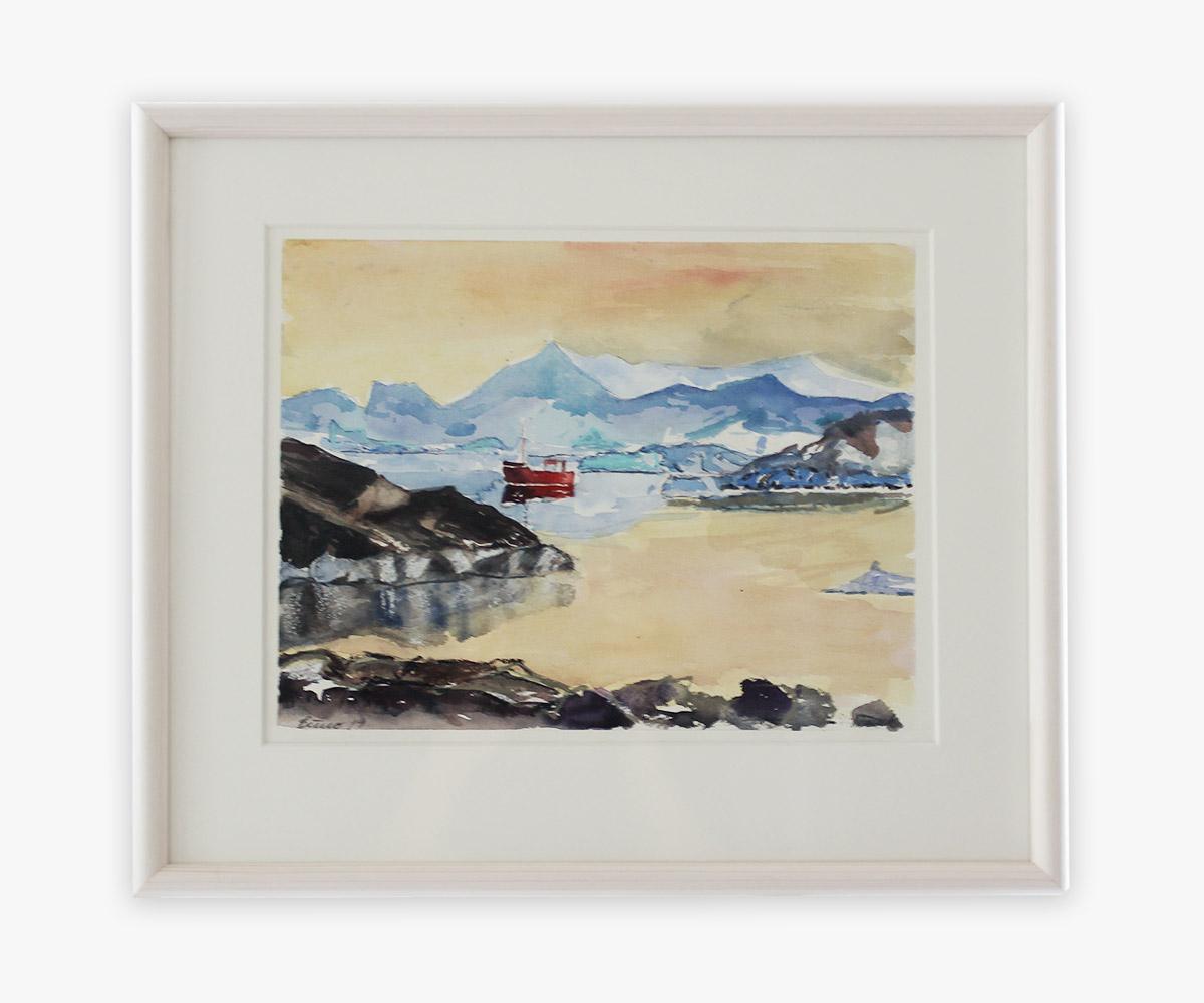 Akvarel af fiskekutter i Godthåbsfjorden, Grønland i indramning og passepartout - Cuno Sørensen