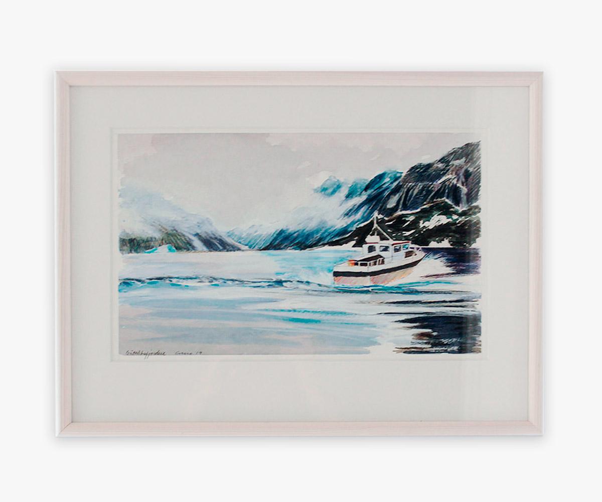 Akvarel af båd i Godthåbsfjorden, Grønland i indramning og passepartout - Cuno Sørensen