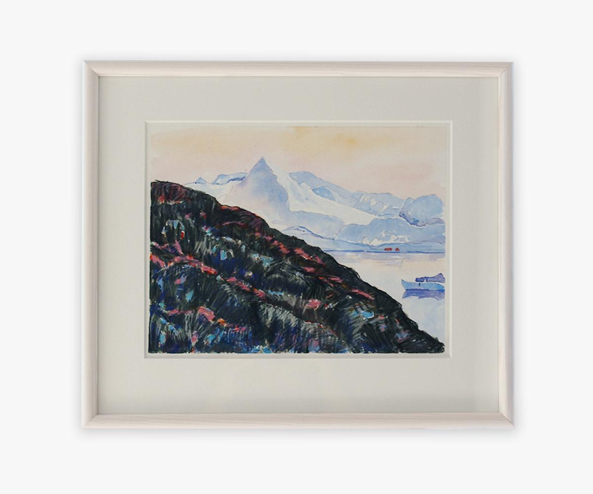 Akvarel af Godthåbsfjorden i Grønland i indramning og passepartout - Cuno Sørensen