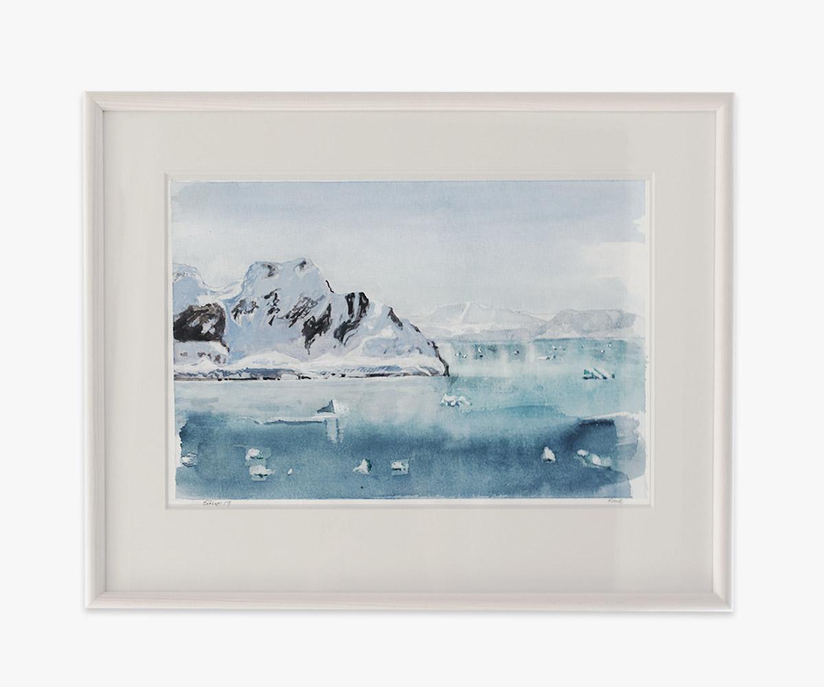Akvarel af isskosser, Godthåbsfjorden i Grønland i indramning og passepartout - Cuno Sørensen