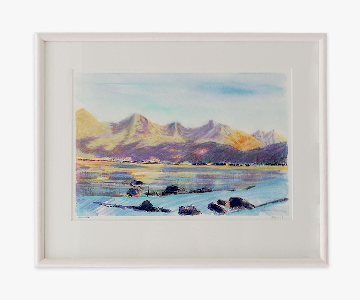 Akvarel af klipper ved Godthåbsfjorden i indramning og passepartout - Cuno Sørensen