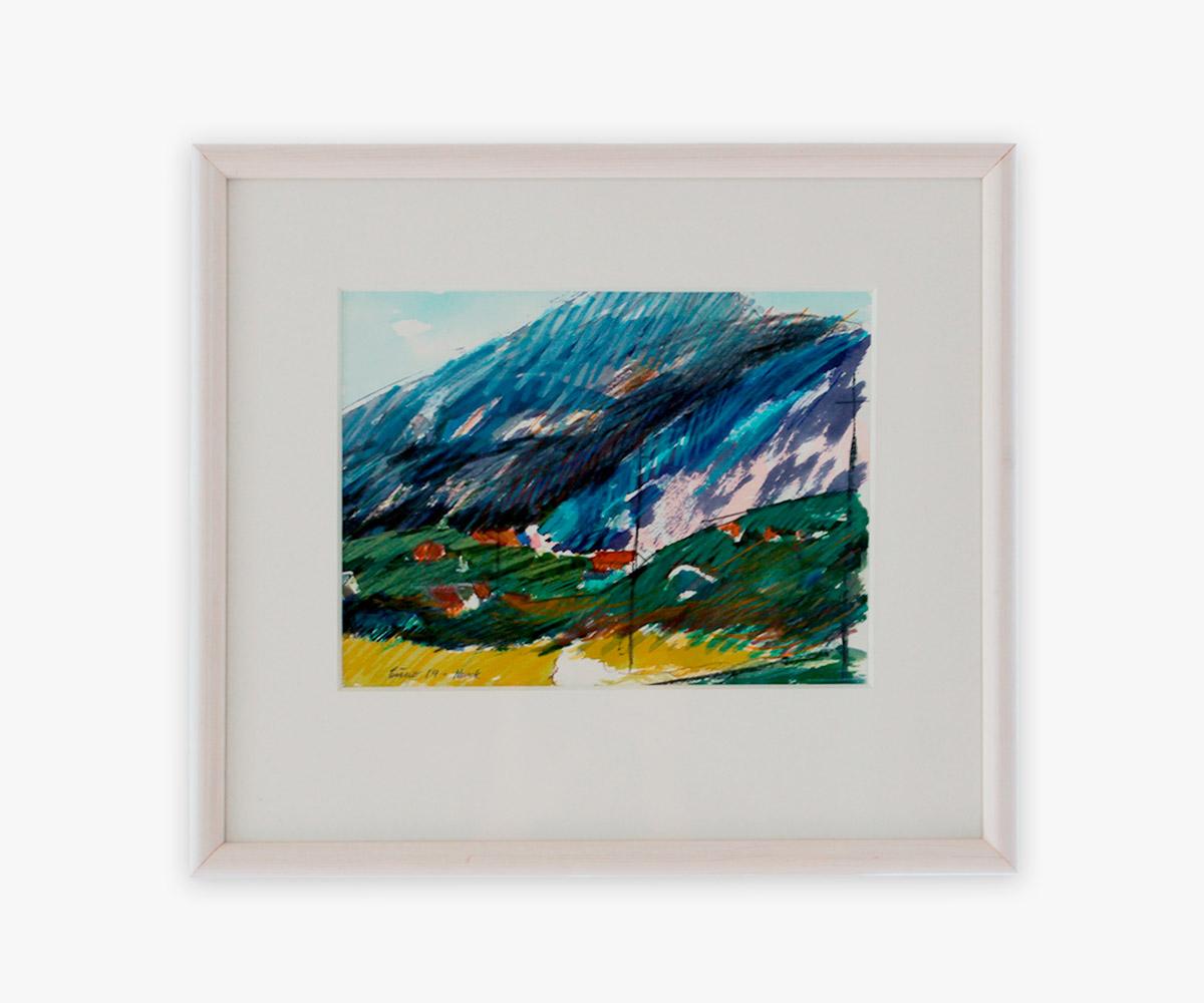 Akvarel af grønlandsk landskab i indramning og passepartout - Cuno Sørensen