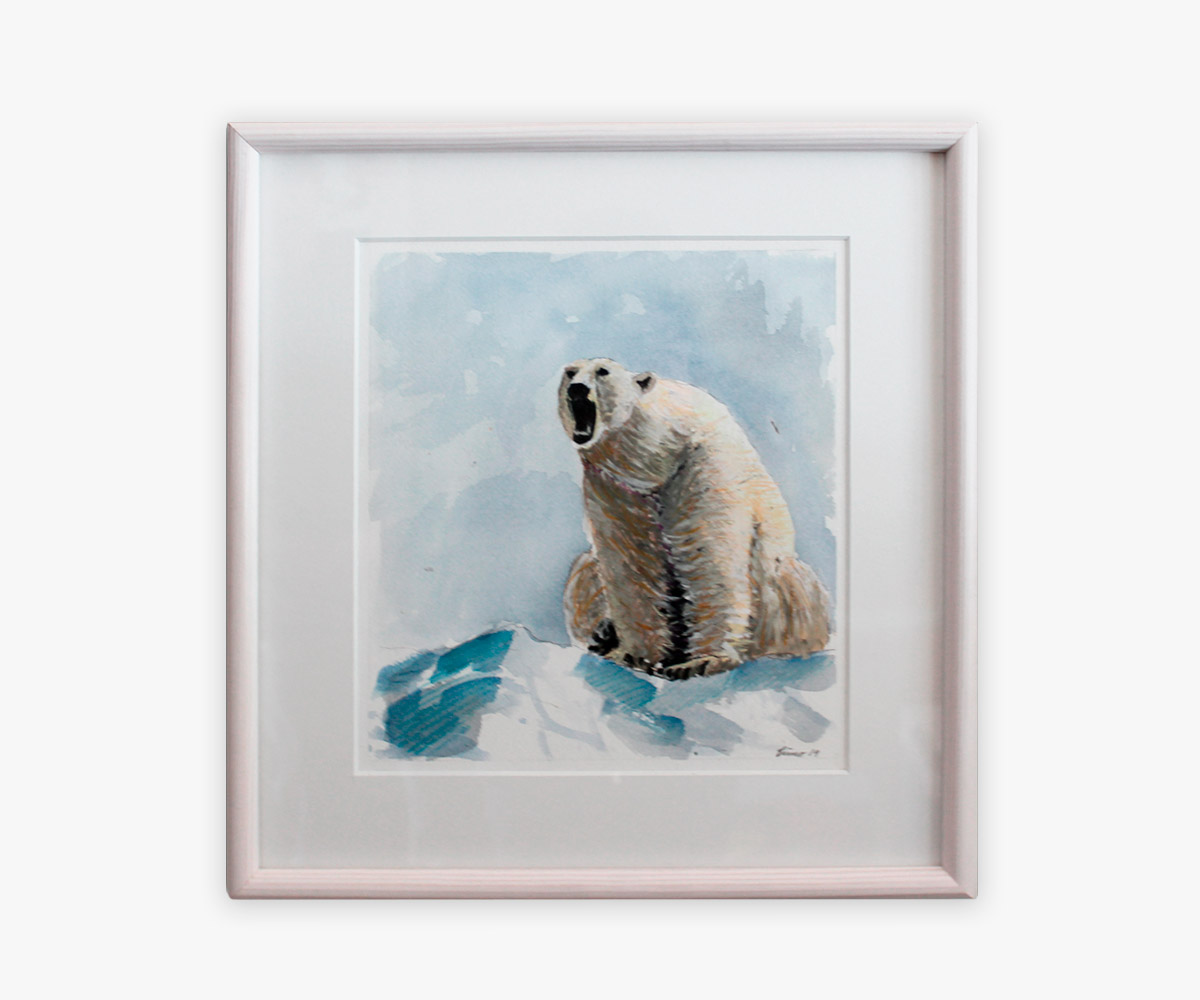 Akvarel af isbjørn i indramning og passepartout - Cuno Sørensen