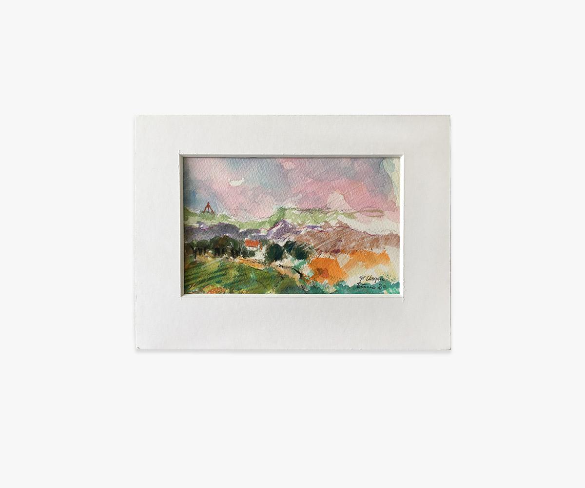 Akvarel Gl. Skagen i passepartout
