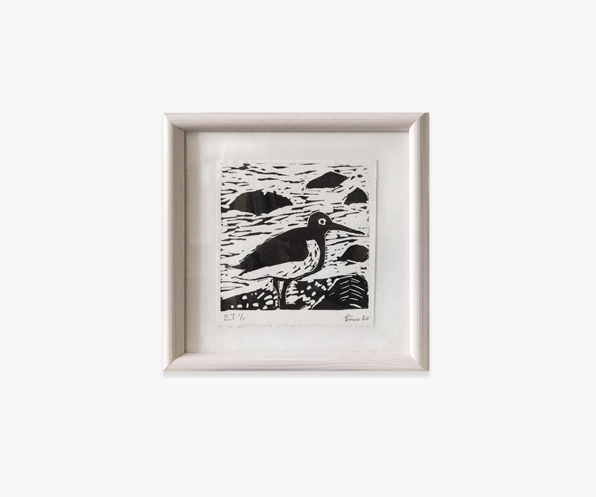 Linoleumstryk af fugl i indramning og passepartout - Cuno Sørensen