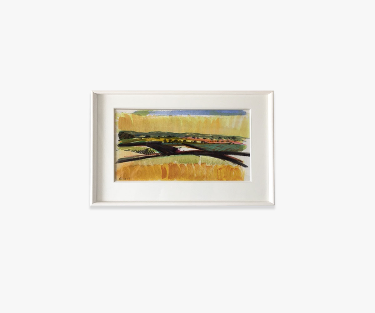 Akvarel af gul mark i indramning og passepartout - Cuno Sørensen