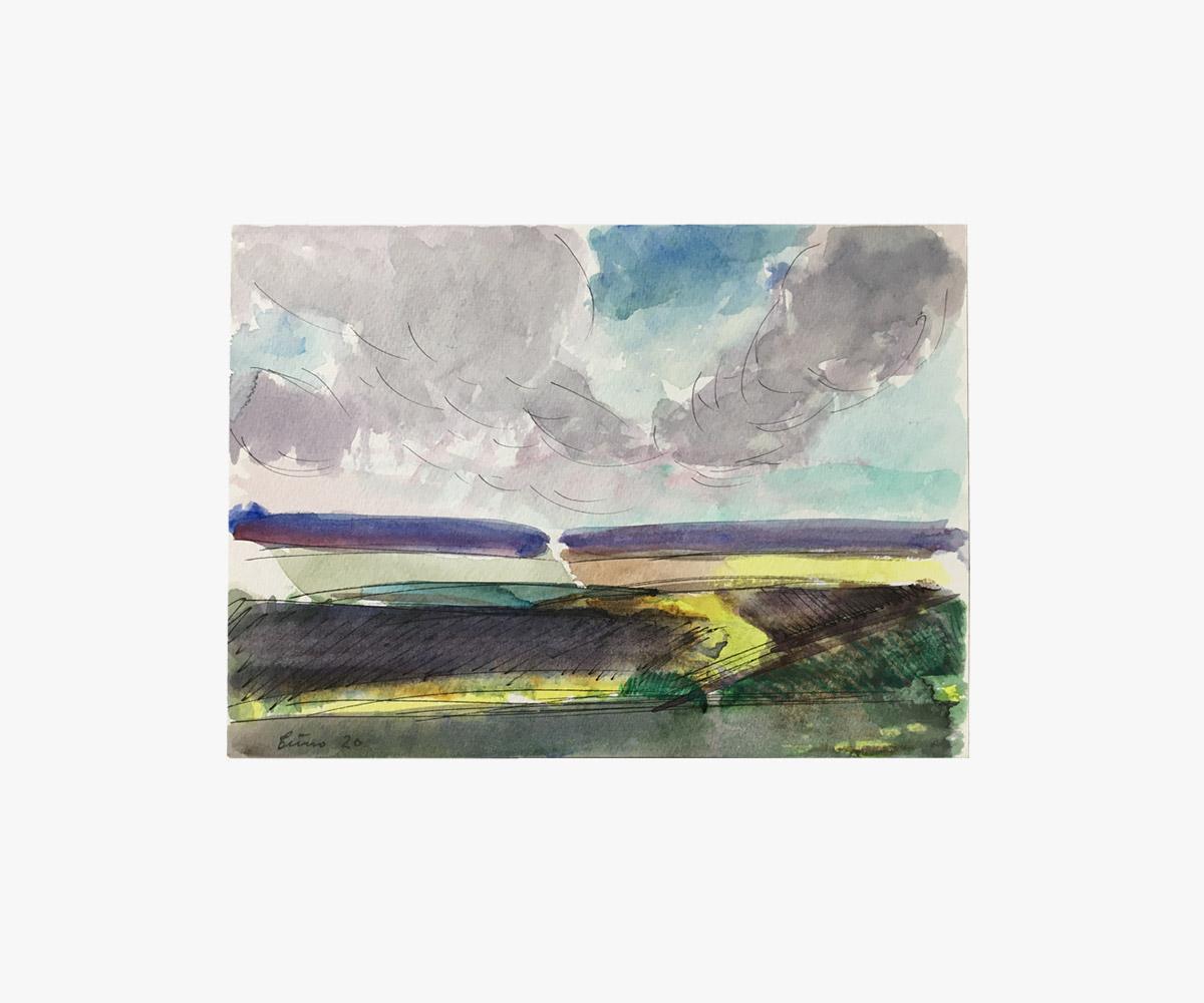 Akvarel og tusch af optakt til regn over markerne