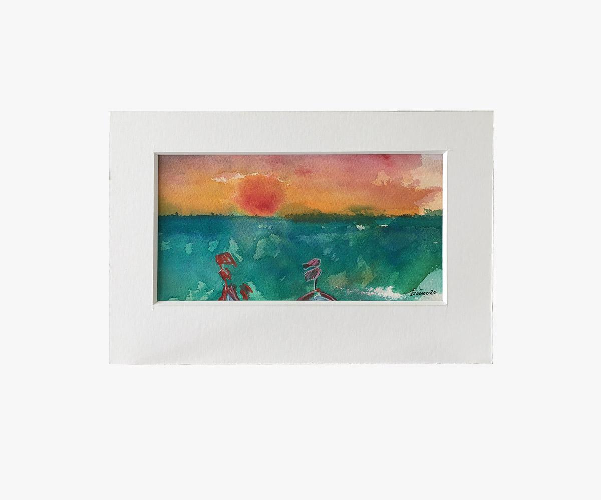 Akvarel af solnedgang i passepartout